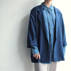 Made in USA  Deep blue tailored collar Jacket