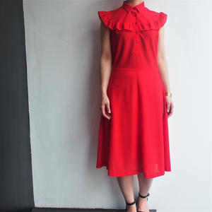 Red frill sleeve dress