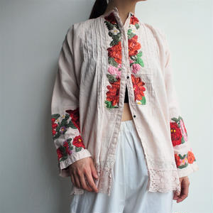 ~1920's East Europe antiquePink linen blouse