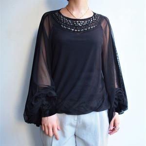 Big sleeve ×tulle bijou blouse