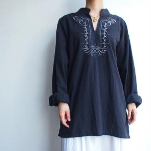 Cotton black long blouse