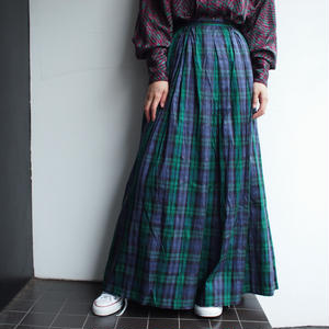 plaid silk  long skirt