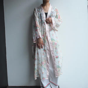 see-through flower  gown coat