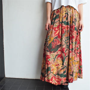 Made in Portugal flower pattern slit skirt