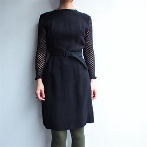 Mesh sleeve black dress
