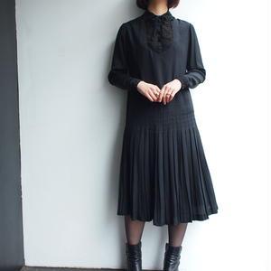 1960's Black Silk  lace collar dress