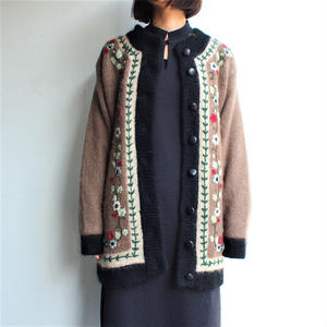 Mohair flower embroidery cardigan