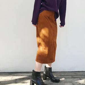 """80's """"DKNY"""" バックスリットスエードスカート"""