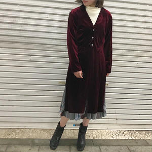 1980's MADE IN USA SLIT VELOUR GOWN