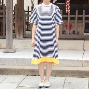 """""""NEW"""" Lilou&Lily border tee one-piece dress off white×navy"""