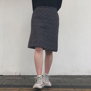 1970's TWEED SKIRT BLUE