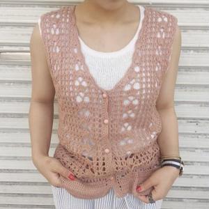 no sleeves knit cardigan pink