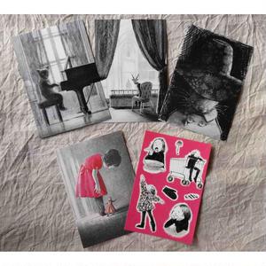 みやこしあきこ:ポストカード5枚セット「ピアノはっぴょうかい」