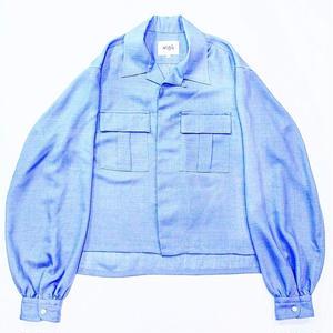 <LANTIKI Exclusive items.>Open-necked shirt - linen styles #Blue