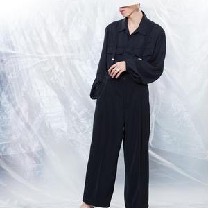 Tuck pants #Black
