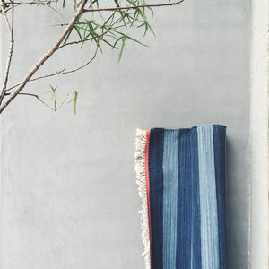Cotton Indigo Rug - Border 100×140cm