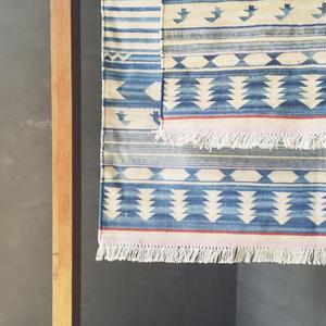 Cotton Indigo rug - Geometric 60 × 90 cm