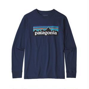 Patagonia(パタゴニア) ボーイズ・ロングスリーブ・グラフィック・オーガニック・Tシャツ  #62229  P-6 Logo Classic Navy (PLCL)