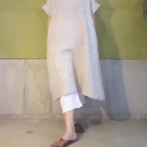 手紡ぎ手織りリネンドレス
