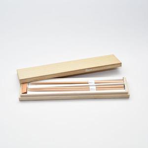 三角箸 ブナ 箸置き付 桐箱 gift box