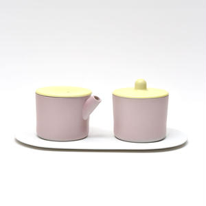 S&B Milk Can & Sugar Can & Platter Set / Light Yellow & Light Pink