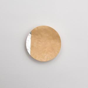 竹のブローチ 丸/銀箔