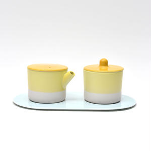 S&B Milk Can & Sugar Can & Platter Set /  Yellow & Light Pink
