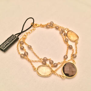 Gregio ブレスレット Iris three-stones Clear Brown