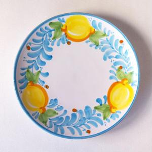 イタリア製 マヨリカ焼 プレート 21cm レモン柄(空色)