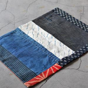 古布襤褸×柿渋 リメイクのランチョンマット/籠掛け布 藍染 かすり 刺し子