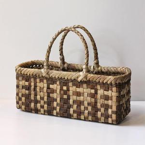 モザイク柄横長 胡桃のかごバッグ  (クルミ/沢くるみ/籠)  オズのかごバッグ
