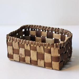 市松柄 胡桃の整理かご 籠(中) (クルミ/沢くるみ)  小物入れ 暮らしの籠  生活雑貨