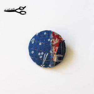 古布襤褸の手作りリメイク 丸ブローチ oz and made