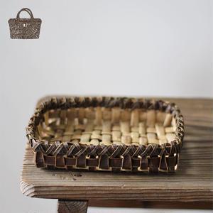 裏皮 小物入れの胡桃置き籠(かご/カゴ) オズのかごバッグ