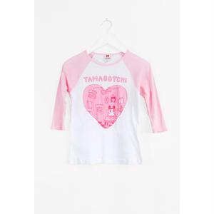 【OMOCAT】TAMAGOTCHI HEART Raglans T-Shirt