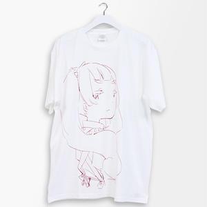 白子まり 線画プリントT-sh