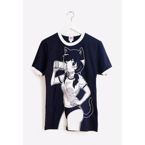 【OMOCAT】MILKGIRL Navy Ringer Shirt