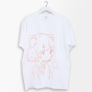 綿紬ことこ 線画プリントT-sh
