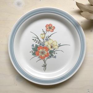 1970's 水色花ストーンウエア27cm大皿