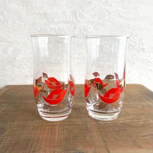 レトロ薔薇グラス2点セット/12cm×6cm