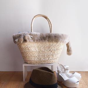 エキゾチックショートヘアがモチーフ☆ふさふさファーの猫かごバッグ(受注生産)
