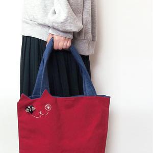 カジュアルな装いに☆帆布の猫トートバッグ 赤(受注製作)