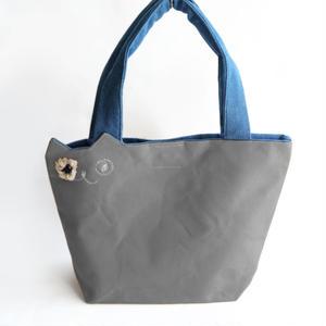 カジュアルな装いに☆帆布の猫トートバッグ グレー(受注製作)