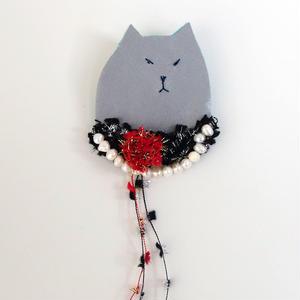 おめかし猫の貴婦人ブローチ003号(受注生産)【送料無料】