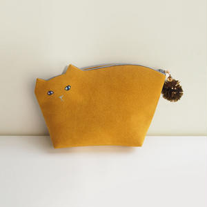 こねこポーチ001号mustard◎送料無料【受注生産】