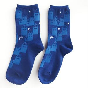 綿プリント靴下005号「街」(受注生産)【送料無料】