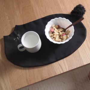 ファーしっぽの帆布黒猫ランチョン(受注製作)