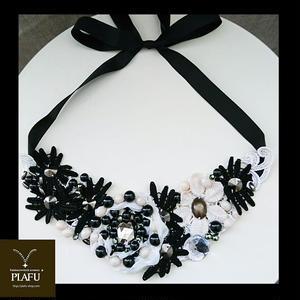 Rribbon necklace-Black × White-  L