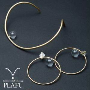 Diamond ring earring ピアス brass