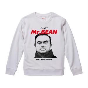 【I'M NOT Mr.BEAN i'm Carlos Ghosn-カルロス・ゴーン】9.3オンス スウェット/WH/JN- 002
